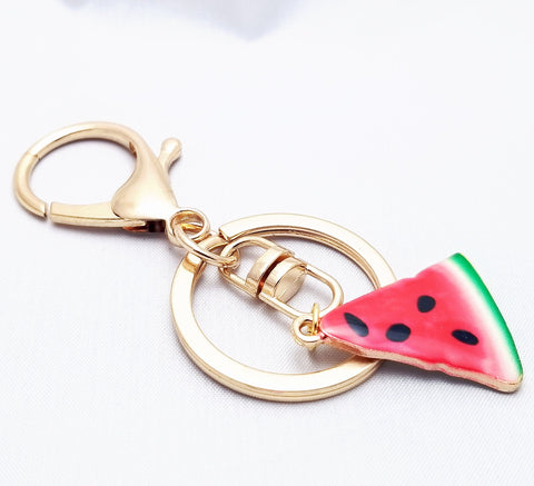 Enamel Watermelon Keychain, Backpack charm, Fruit Keyring