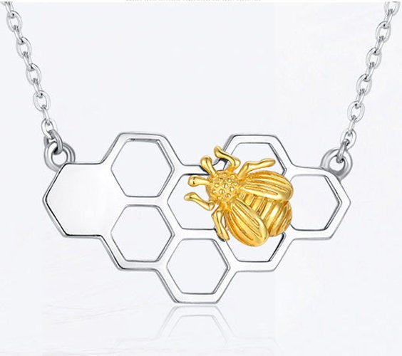 White Gold Honeycomb Necklace with Honey Bee, Honeycomb Pendant