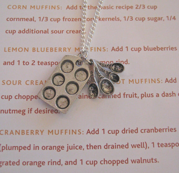 Cupcake Muffin Pan and Measuring Spoons Necklace