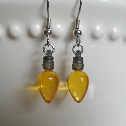 Yellow Christmas Light Bulb Earrings