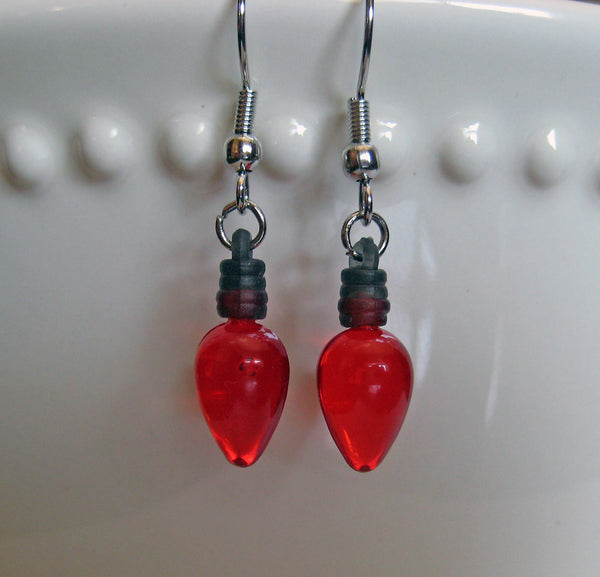 Red Christmas Light Bulb Earrings