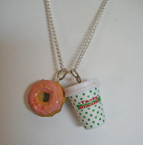 Coffee and Strawberry Donut Necklace