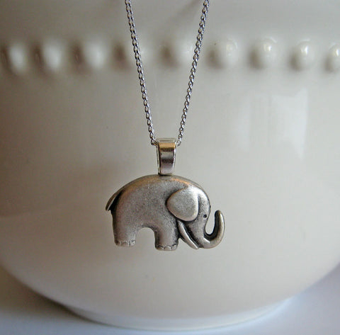 Elephant Necklace Antiqued Silver