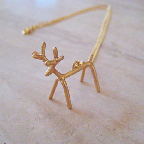Gold Little Deer Necklace