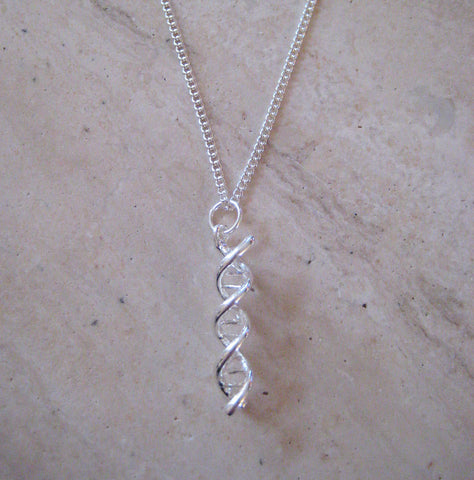 DNA Necklace -  Double Helix, Genetics Science Necklace
