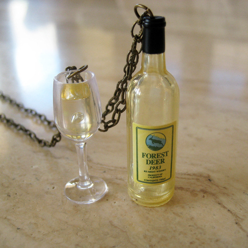 White Wine Bottle and Wine Glass Necklace