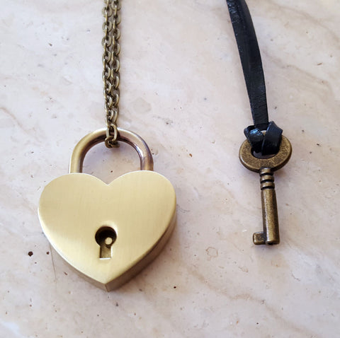 Bronze Heart Lock and Key Couples Necklace - Jewelry Set