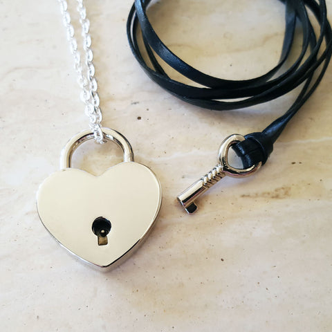 Silver Heart Lock and Key Couples Necklace - Jewelry Set