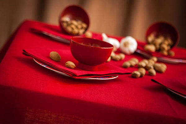 Burgundy red, pure linen tablecloth, easy care, for Nordic Style Christmas table Settings.