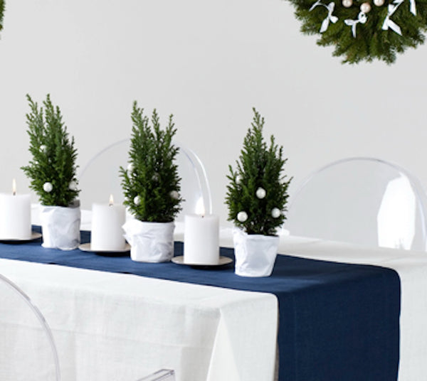 White pure linen tablecloth is so Scandinavian and Nordic for Christmas Table Design.