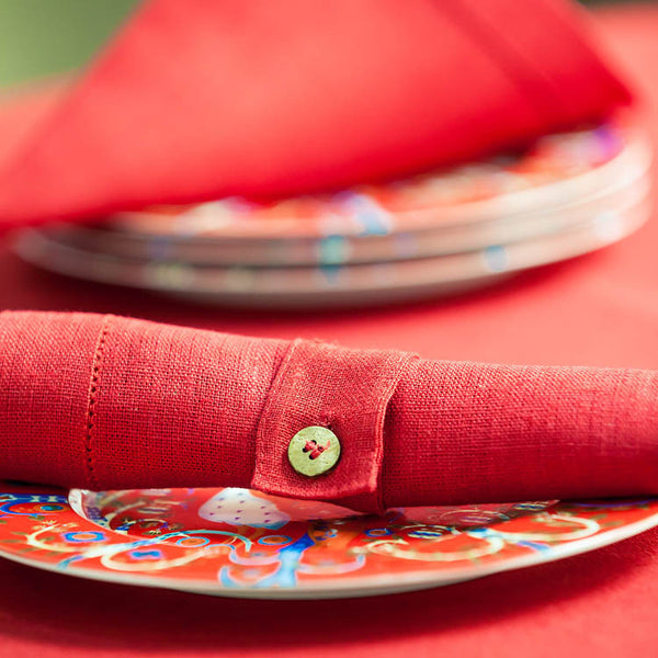 Burgundy Red Linen Napkin Ring with Coconut Button