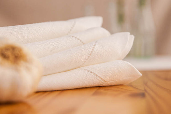 Natural White 100% Linen Napkin with Hem Stitch 40x40 cm