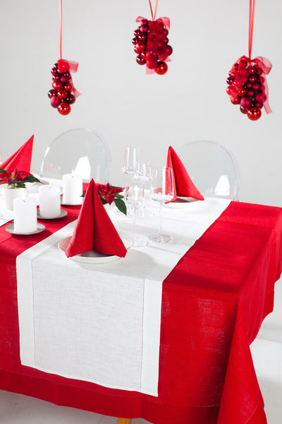 An elegant Scandinavian or Nordic style pure linen tablecloths in many large sizes. This bright Christmas red 100% linen tablecloth combines timeless elegance and modern simplicity. Ready to ship. Fast and cheap worldwide shipping