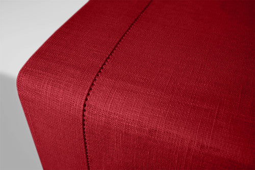 Burgundy red Christmas Holiday pure linen table runners hemstitch available in many long sizes Ready to ship