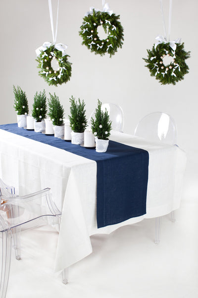 Chic navy blue pure linen table runner hemstitch for festive Scandinavian style table settings. Available in many long sizes. Fast and cheap shipping worldwide