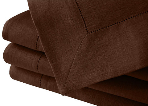 Chocolate brown large pure linen tablecloth hemstitch in many large sizes. Fast and cheap worldwide shipping