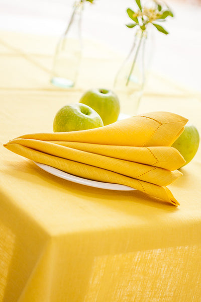 Bright yellow large linen tablecloth now 30%OFF! Easy to care, fast and cheap worldwide shipping!