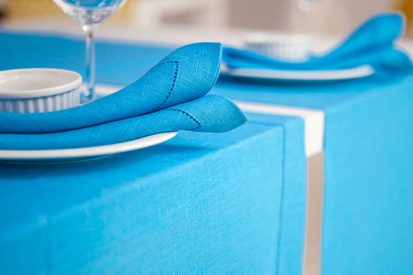 Light Blue 100% Linen Napkin with Hem Stitch 40x40 cm