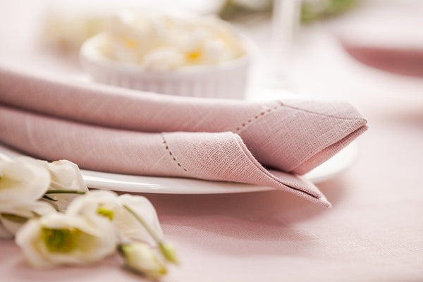 Pale Pink 100% Linen Napkin with Hem Stitch 40x40 cm