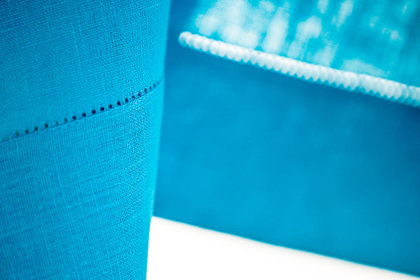 Light Turquoise 100% Linen Tablecloth Hemstitched 140x140cm