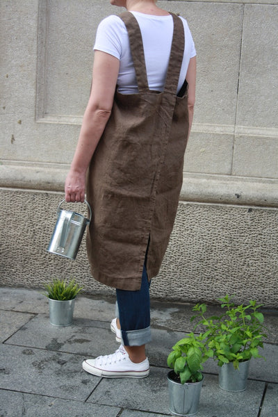 Cross back linen apron. Japanese style linen pinafore apron brown.