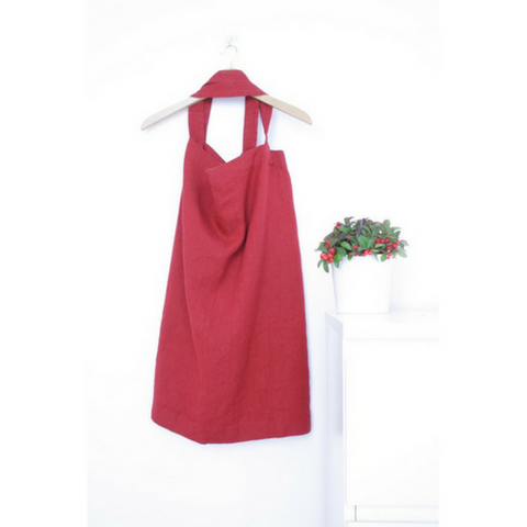 Japanese apron. Burgundy red linen apron.