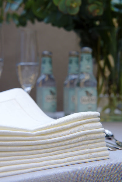 Natural White 100% Linen Napkins with Hem Stitch 40x40 cm