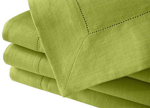 Apple Green Large Pure, 100% Linen Tablecloth with Hemstitch Edge. Ready to Ship.