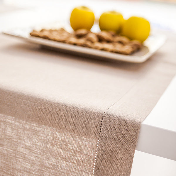 Natural sand beige pure linen table runners hemstitch for rustic Scandinavian style table setting. Suitable for Christamas, wedding or every festive dinner decoration