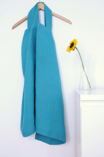 Japanese style apron. Turquoise linen apron pinafore.