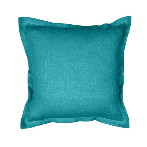 Beautiful dark turquoise 100% linen cushion cover. Simple, solid color linen cushion cover with 2cm (0.8 inches) wide extra shams. Zipper closure backside. Suitable for any style home decorations – rustic, shabby chic, or modern minimalistic Scandinavian style homes and public places.