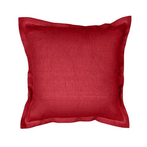Beautiful burgundy red 100% linen cushion cover. Simple, solid color linen cushion cover with 2cm (0.8 inches) wide extra shams. Zipper closure backside. Suitable for any style home decorations – rustic, shabby chic, or modern minimalistic Scandinavian style homes and public places.