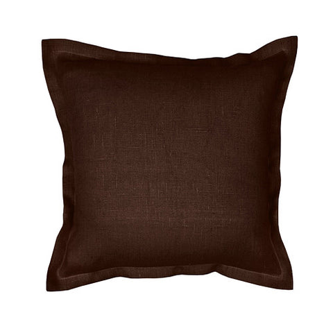 Beautiful chocolate, dark brown 100% linen cushion cover. Simple, solid color linen cushion cover with 2cm (0.8 inches) wide extra shams. Zipper closure backside. Suitable for any style home decorations – rustic, shabby chic, or modern minimalistic Scandinavian style homes and public places.
