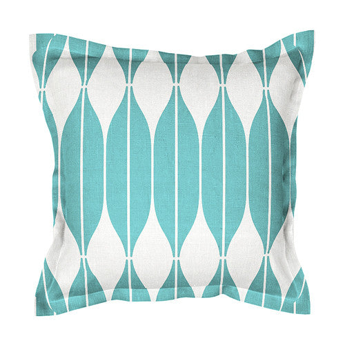 Unique turquoise 100% linen cushion covers, decorated with Scandinavian retro style print pattern COB. Zipper closure.