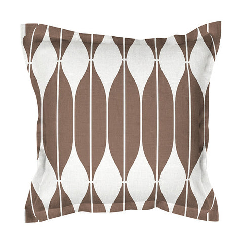 Unique brown 100% linen cushion covers, decorated with Scandinavian retro style print pattern COB with 2cm (0.8 inches) wide extra shams. Zipper closure.