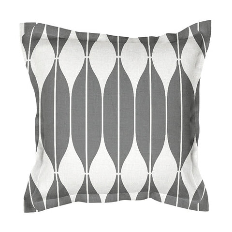 Unique dark gray 100% linen cushion covers, decorated with Scandinavian retro style print pattern COB. Zipper closure.