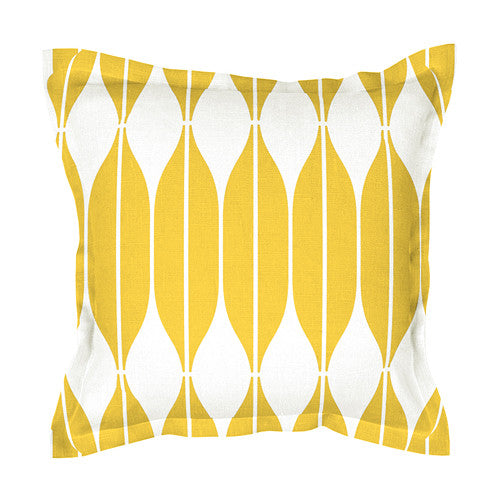 Unique yellow 100% linen cushion covers, decorated with Scandinavian retro style print pattern COB. Zipper closure.