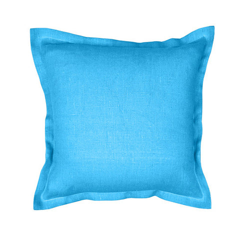 Beautiful light blue 100% linen cushion cover. Simple, solid color linen cushion cover with 2cm (0.8 inches) wide extra shams. Zipper closure backside. Suitable for any style home decorations – rustic, shabby chic, or modern minimalistic Scandinavian style homes and public places.