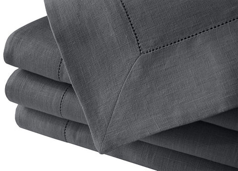 Classy asphalt gray 100% linen tablecloths with wide hemstitch edge. Available in many large sizes. Made in Europe. Fast and inexpensive worldwide shipping.