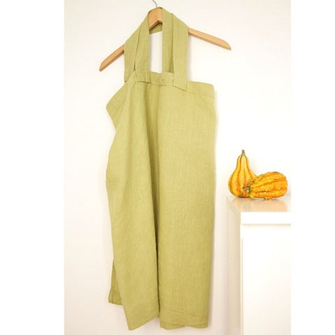 Japanese style linen pinafore apron in lime green.
