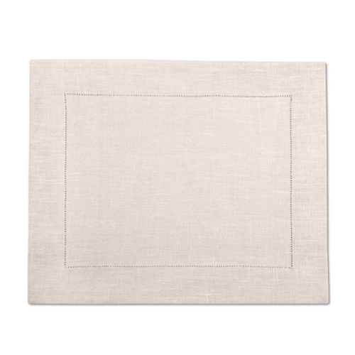 Natural beige linen placemat / table mat with hemstitch