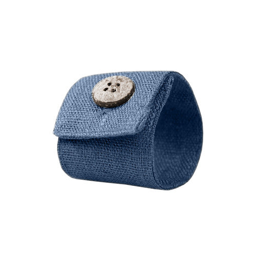 Denim Blue Linen Napkin Ring with Coconut Button