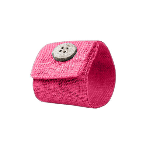 Fuchsia Linen Napkin Ring with Coconut Button