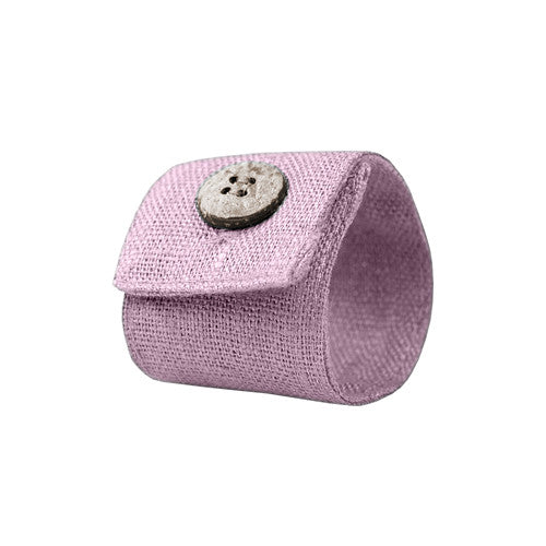 Lavender Linen Napkin Ring with Coconut Button