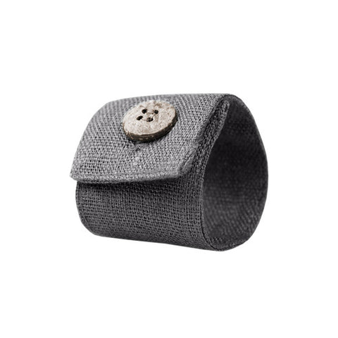 Cute gray linen napkin ring, made of 100% linen, decorated with coconut button. Perfect for Nordic style table setting accessories. Reusable. Machine washable.