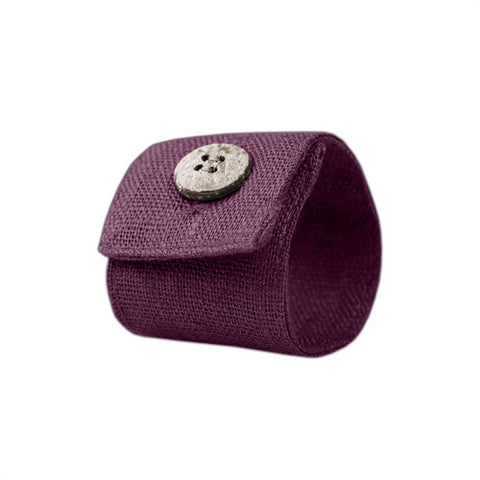 Purple Linen Napkin Ring with Coconut Button
