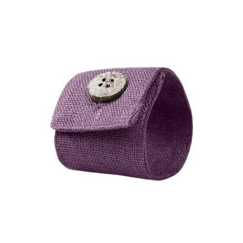 Violet Linen Napkin Ring with Coconut Button