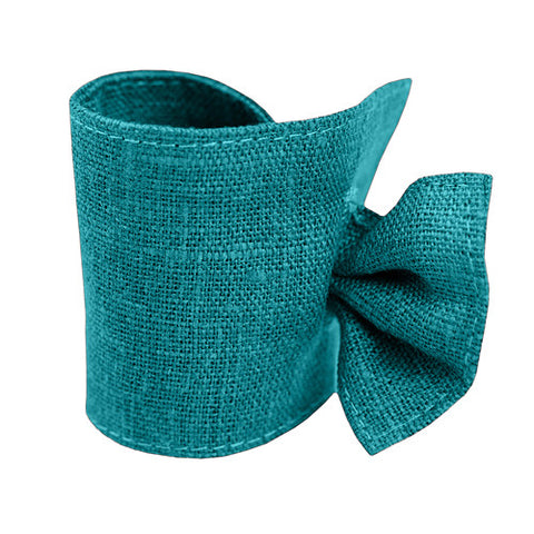 Cute dark turquoise linen napkin ring, made of 100% linen, decorated with tie. Perfect for Nordic style table setting accessories. Reusable. Machine washable.