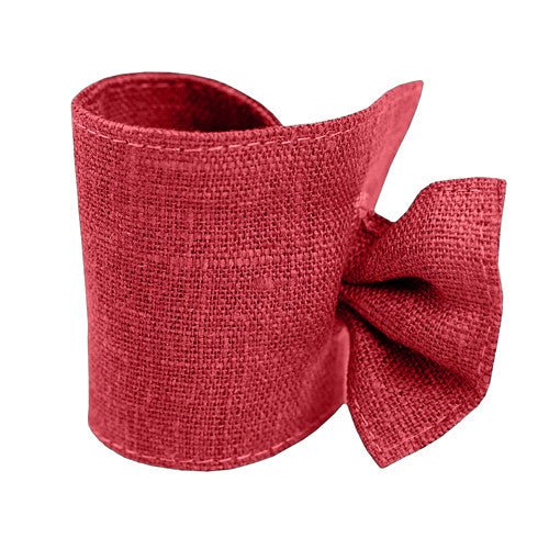 Burgundy Red Linen Napkin Ring with Tie