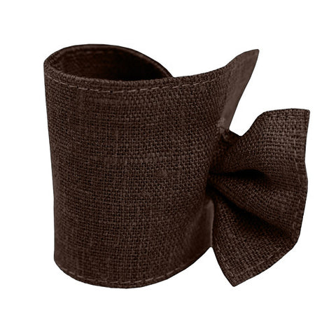 Cute dark chocolate brown linen napkin ring, made of 100% linen, decorated with tie. Perfect for Nordic style table setting accessories. Reusable. Machine washable.